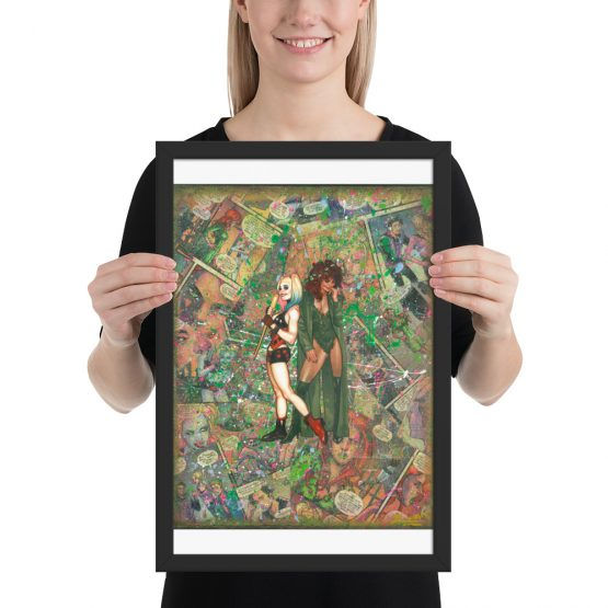 Poison Ivy and Harley Quinn Comic Canvas Framed Reproduction Print