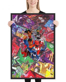 Justice League x Power Rangers Comic Canvas Framed Reproduction Print