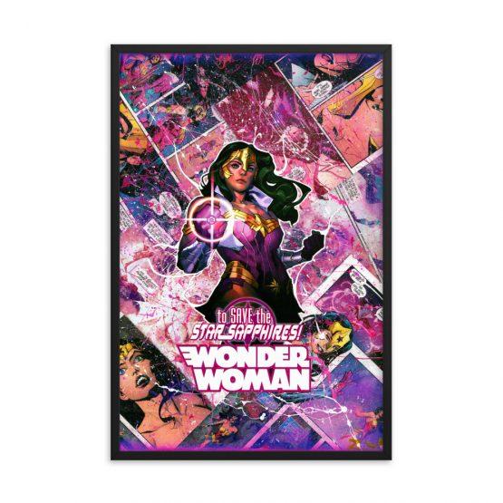 Wonder Woman Comic Canvas Framed Reproduction Print