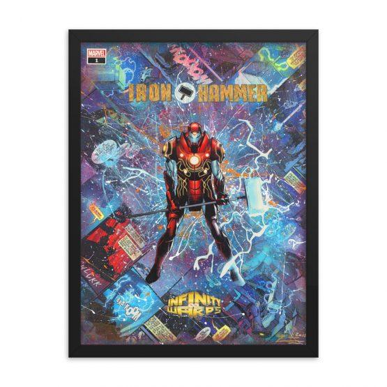 Iron Hammer – Marvel Infinity Warps – Iron Man x Thor Comic Canvas Framed Reproduction Print